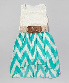 Look at this #zulilyfind! Mint & White Zigzag Lace Belted Dress - Girls by Just Kids #zulilyfinds
