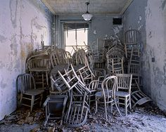 blue-voids: Stephen Wilkes - Ellis Island Administrative Quarters Measles Ward, Huddled Chairs Morgue, Prep Room Isolation Ward Snow-covered Corridor Psychiatric Hospital, Green Room Tuberculosis Ward