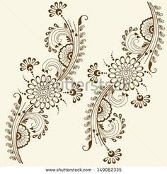 Vector abstract floral elements in indian mehndi style. Abstract floral vector illustration. Design element.