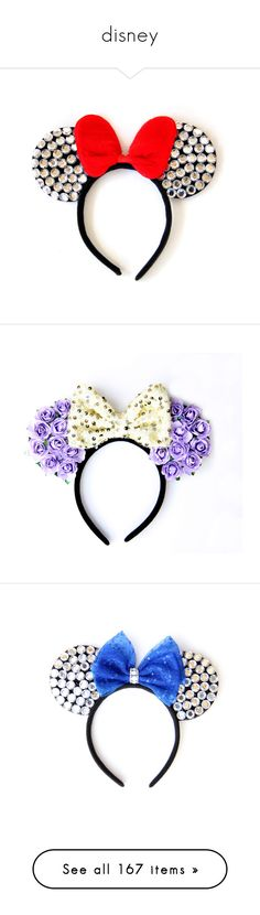 """""""disney"""" by coolcg12 ❤ liked on Polyvore featuring accessories, hair accessories, disney, ears, hair, jewelry, earrings, rhinestone bow earrings, disney earrings and disney jewelry"""