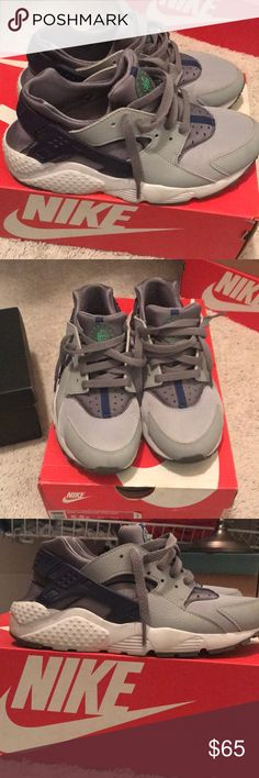 Nike shoes Nike Huarache Runs size 5.5 Y (7w) like new! Only worn several times! Super comfortable! Gray and deep royal. Comes with box! Nike Shoes Sneakers