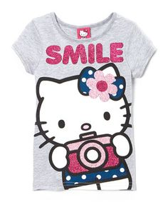 Look what I found on #zulily! Gray 'Smile' Hello Kitty Tee - Girls by Hello Kitty #zulilyfinds