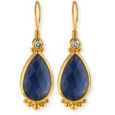 Gurhan Elements 24k Constantine Sapphire Teardrop Earrings ($3,500) ❤ liked on Polyvore featuring jewelry, earrings, sapphire jewellery, white sapphire earrings, round earrings, 24 karat gold earrings and gurhan