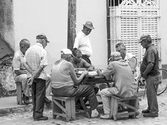 Men Play Street Dominoes Cuba Image Art - photograph by Jo Ann Tomaselli. Fine art prints and posters for sale. #joanntomaselli #streetphotography #cuba