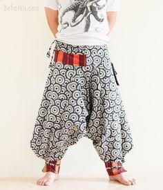 Thick Cotton Ninja Warrior Tribal Harem Pants Japanese Unisex Trousers (Oriental Umbrella)