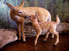 Dollhouse-Miniature-Doe-Fawn-Handsculpted