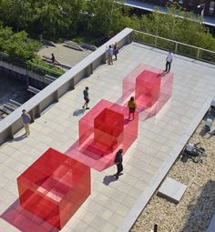 In the city for Labor Day weekend? Celebrate the unofficial end of summer exploring our outdoor galleries. [Installation view of Larry Bell, Pacific Red II, 2017 (Whitney Museum of American Art, New. Landscape Architecture, Interior Architecture, Landscape Design, Instalation Art, Urban Furniture, Outdoor Art, Light Art, Public Art, Retail Design