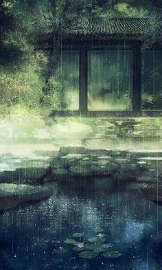Cành phan trắng rung lên vì ai, mà phan cứ lay đêm ngày Bút nghiên mực tàn hoen phai ố, nước mắt người xưa lã chã rơi Hạ nghiên bút chôn theo dòng đời, quỷ môn quan biến cao tận trời Phấn son hồng điểm tô giây lát, trước khi hồi nhập quan gõ dồn Làn trầm hương, lưu luyến bay, toàn gia quyến, quấn khăn tang Lệ ngàn năm, rơi đáy hồ, tìm đâu bóng hồng nhân Ngọn đèn xa chờ trông gió tây, bên tán cây bồ đề ai tấu Câu đường thi vạn niên lưu dấu, cánh hoa phai, vì ai bước đi Fantasy Art, Fantasy Landscape, Drawing Rain, Chinese Painting, Chinese Art, Arte Digital, Manga Art, Anime Art, Art Chinois