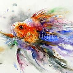 GOLDFISH Watercolor Print by Dean Crouser by DeanCrouserArt, $25.00