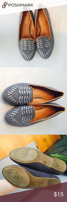 UO Dolcetta Embroidered Loafers Beautiful navy loafers from UO by Dolcetta. Silver embroidered detailing. Great condition, worn once. Photos aren't great quality. Urban Outfitters Shoes Flats & Loafers