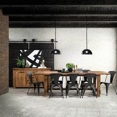 Industrial dining room goals! Ft. our Industrial buffet $849 & 9 piece dining suite $1499.