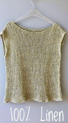 Knit Natural Linen Top Hand knitted Organic top Natural Linen top