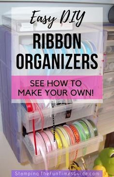 See my 1 favorite storebought ribbon organizer   9 easy DIY ribbon organizers you can make yourself! #ribbons #bows #ribbonorganization #diyorganizers #organizing #christmaswrap #giftwrap #wrappinggifts