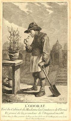 L'Odorat by Le Bas after David Teniers 1736