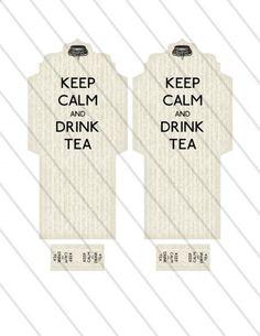 Printable Keep Calm and Drink Tea Bag Holder envelope tag digital collage by VectoriaDesigns