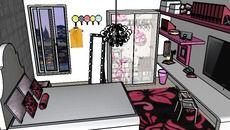 3D Model of girl pink bedroom