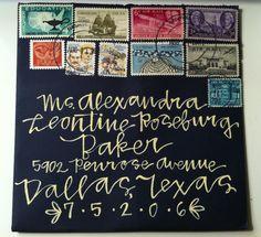 Handmade wedding invitation... love the envelope and stamps! @Elizabeth Creekmuir