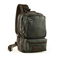 LINGTOM Mens Unbalance Chest Pack Leather Multipurpose Backpack Crossbody Shoulder Bag Travel Sling BagBlack >>> Check out the image by visiting the link.