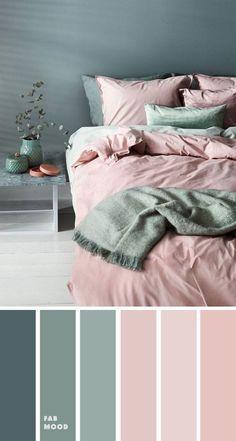 Bedroom Colour Palette, Green Colour Palette, Bedroom Color Schemes, Pink Color Schemes, Interior Colour Schemes, Grey Living Room Ideas Color Schemes, Apartment Color Schemes, Bedroom Wall Colour Ideas, Home Color Schemes