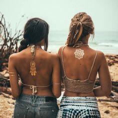 Boho, flash tattoo, girls, hippies, beach, summer, friends, pretty, blonde, brunette, tie dye, tanned