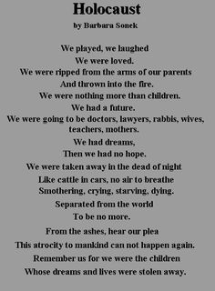 A Poem about the pain suffered by the Jewish people during the Holocausts in Nazi Germany