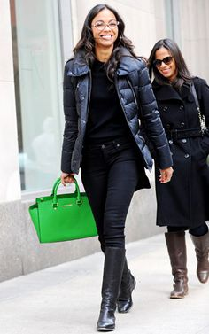Zoe Saldana clutched Michael Kors' $358 neon green leather carryall in NYC.