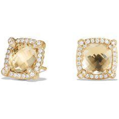 David Yurman Ch?telaine 8mm Champagne Citrine & Diamond Earrings (£1,910) ❤ liked on Polyvore featuring jewelry, earrings, earring jewelry, champagne diamond jewelry, 18 karat gold earrings, champagne jewelry and champagne earrings