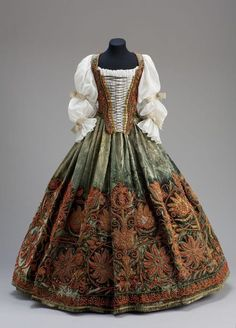 Bodice & skirt, mid-17th century. via fripperiesandfobs from the Museum of Applied Arts