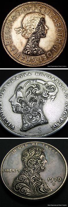 Elaborate Floral Scrollwork Engraved on Coins by Shaun Hughes