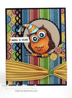 Art Impressions Ai Whoots.  Handmade owl birthday card.