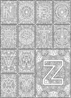 Color the Alphabet A-Z Adult coloring book - Sarah Renae Clark - Coloring Book Artist and Designer Coloring Pages For Grown Ups, Free Adult Coloring Pages, Alphabet Coloring Pages, Coloring Pages To Print, Coloring Book Pages, Printable Coloring Pages, Coloring Pages For Kids, Coloring Sheets, Alphabet Book