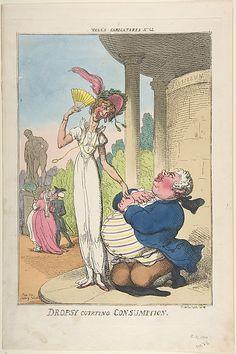 Thomas Rowlandson: Dropsy Courting Consumption, October 25, 1810.                                             Thomas Rowlandson
