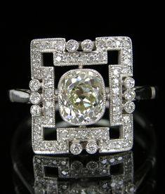 An Art Deco Platinum and Diamond Ring. #ArtDeco #ring
