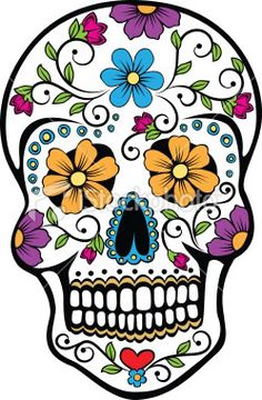 colorful sugar skull tattoo. i want this on my right forearm