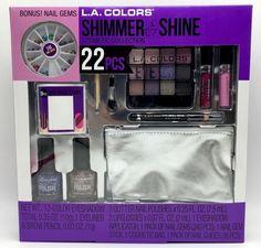 LA COLORS Shimmer & Shine Sparkly Make Up Collection 22pc lip nail gems Plus  #LAColors