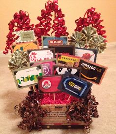 Gift Card Bouquet for Teen Boy Box, foam, card stock, photo corners, skewers… Gift Card Tree, Gift Card Basket, Gift Card Bouquet, Gift Baskets, Gift Cards, Theme Baskets, Bouquet Box, Raffle Baskets, Craft Gifts