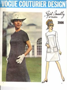 Charming and fabulous vintage designer pattern from Sybil Connolly, considered the leader of the Irish couture in the 1960s. Semi-fitted A-line dress with jewel neckline, has patch pockets and saddle stitch trim. Pattern is complete and cut. Size 12 Bust 34 Hip 36