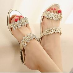 2013  Female Rhinestone Wedges Comfortable Casual Slippers Sandals QB142-inSandals from Shoes on Aliexpress.com $21.99