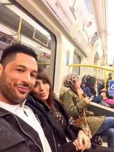 WWE Diva Layla El and her boyfriend Rich Young on a train in London