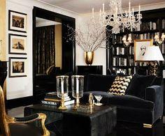 el país de sarah: Blanco + negro + dorado = decoración
