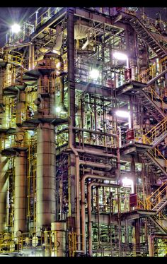 Steampunk science and industry. Mass producing the fluorocarbon based plasma fuels required for shape shifting and interdimensional time travel. Industrial Photography, Urban Photography, Abandoned Buildings, Abandoned Places, Abandoned Factory, Oil Refinery, Industrial Architecture, Industrial Revolution, Cyberpunk
