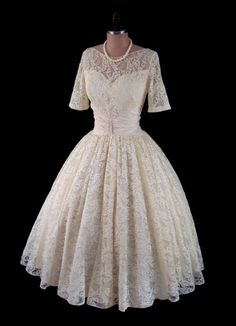Vintage 1950's 50's Bombshell Lace Ecru and Ivory Illusion Neckline New Look Cocktail Party Wedding Dress S