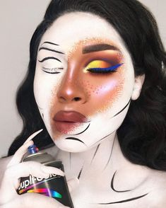 Amazing artistic make up for Halloween 🎃. Makeup Fx, Makeup Goals, Makeup Inspo, Makeup Inspiration, Beauty Makeup, Makeup Pics, Makeup Ideas, Pop Art Makeup, Skull Makeup