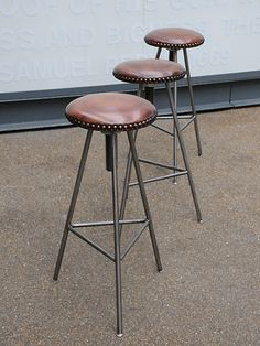 A reclaimed barstool with a studded leather top. origin: UK- A reclaimed barstool with a studded leather top. origin: UK A reclaimed barstool with a studded leather top. Welded Furniture, Iron Furniture, Furniture Design, Industrial Metal Chairs, Metal Stool, Bar Top Tables, Chair Design Wooden, Diy Furniture Hacks, Chaise Bar