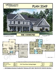 Greater Living Architecture in Rochester, NY provides premier home plans for any stage of life from Starter to Luxury to Empty Nester homes. Sims House Plans, Two Story House Plans, Family House Plans, Two Story Homes, Dream House Plans, House Floor Plans, Colonial House Plans, Architecture Plan, Residential Architecture