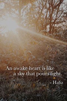 An awake heart is like a sky that pours light. Hafiz Quotes, Quotable Quotes, Me Quotes, Kahlil Gibran, Socrates, Thought Provoking, Beautiful Words, Awakening, Wise Words