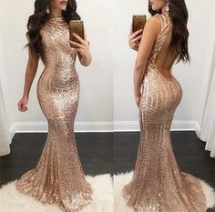rose gold mermaid evening dress,sequins prom dress,striped sequins dress,open back dress,sparkly dress,sequin gowns