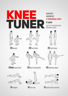 Knee strengthening exercises - Knee Tuner Workout Posted by CustomWeightLossProgram com Gym Workouts, At Home Workouts, Skiing Workout, Agility Workouts, Knee Strengthening Exercises, Aerobic Exercises, Knee Stretches, Bad Knee Exercises, Quad Exercises