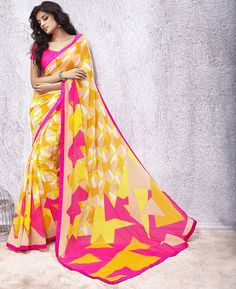 Buy Classy Beige & Yellow Casual Sarees online at  https://www.a1designerwear.com/classy-beige-yellow-casual-sarees  Price: $22.38 USD
