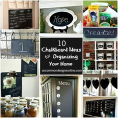 10 Chalkboard Ideas for Organizing your Home!